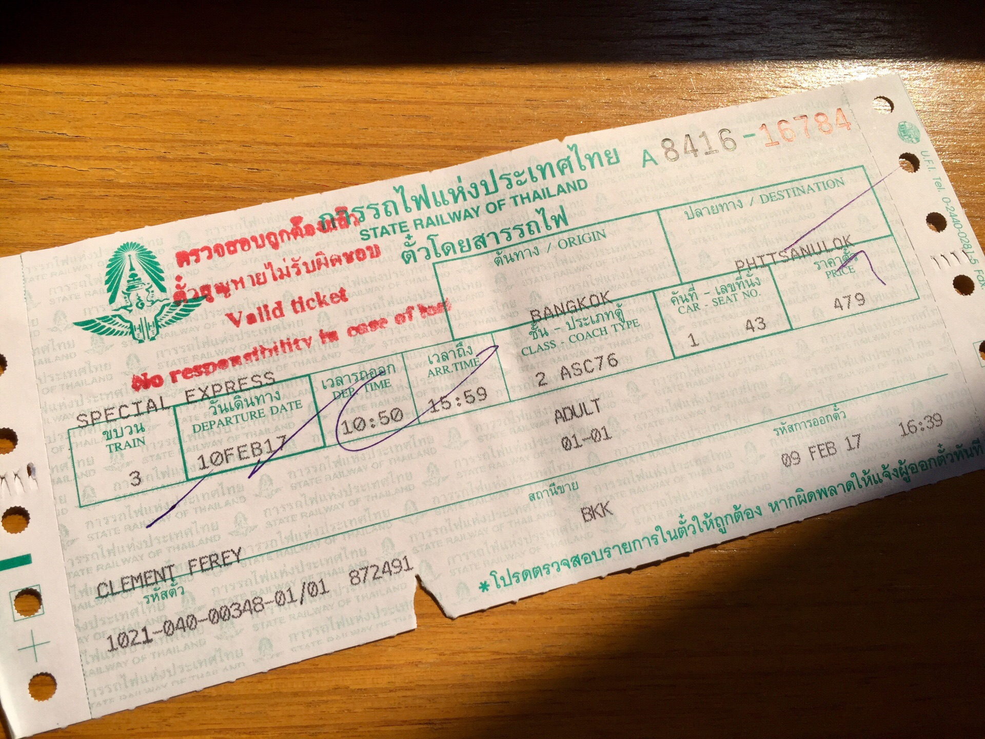 Billet de train Thaïlandais